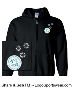 Unisex hooded zip up sweatshirt, Black with Logo and snowflake awareness ribbons Design Zoom